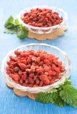 Bayas secadas rojas del goji fotografía de archivo libre de regalías