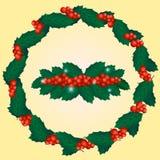 Bayas y hoja del ejemplo de la decoración del Año Nuevo foto de archivo libre de regalías