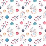 Bayas y polca Dots Seamless Pattern de la acuarela Imagen de archivo