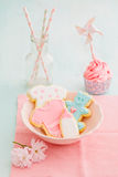 Bayb shower cupcake and cookies. Butter cream cupcake and cookies for a baby shower Royalty Free Stock Images