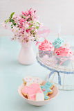 Bayb shower cupcakes and cookies. Butter cream cupcakes and cookies for a baby shower stock photos
