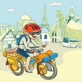 BaycikJourney runt om världen med cykeln Le Royaltyfri Bild
