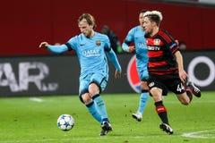 Bayer 04 Леверкузен против Барселоны Champions лига Стоковое Изображение