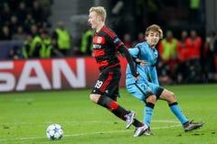 Bayer 04 Леверкузен против Барселоны Champions лига Стоковые Фотографии RF