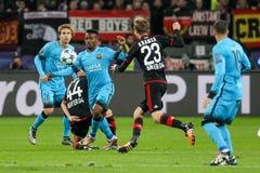 Bayer 04 Леверкузен против Барселоны Champions лига Стоковое Изображение RF