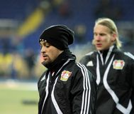 Bayer 04 Leverkusen players warming-up Royalty Free Stock Photography