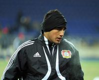 Bayer 04 Leverkusen players warming-up Stock Photo