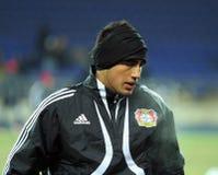 Bayer 04 Leverkusen players warming-up Stock Photo