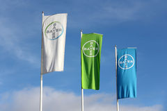 Bayer Flags against Blue Sky Royalty Free Stock Photography