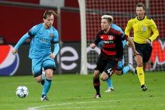 Bayer 04 Leverkusen contra Barcelona defiende a la liga Fotografía de archivo