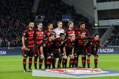 Bayer 04 Leverkusen contra Barcelona patrocina a liga Fotos de Stock Royalty Free