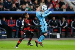 Bayer 04 Leverkusen gegen Barcelona verficht Liga Lizenzfreie Stockbilder