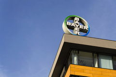 Bayer pharmaceutical company logo on the building of Czech headquarters Stock Photos