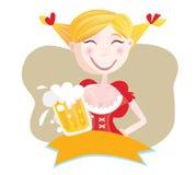 Bayerische Frau mit Bier Stockfotografie