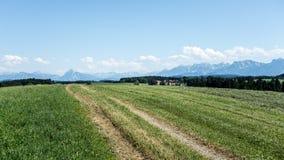 Bayerische Landschaft und Alpen Lizenzfreie Stockbilder