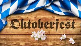 Bayerische Tischdecke mit dem Slogan 'Oktoberfest ' lizenzfreies stockbild