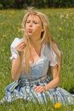 Bayerisches Mädchen dans le der Wiese Photo stock