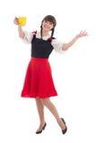 Bayerisches Mädchen mit Schale Bier Stockbild