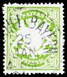 Bayern coat of arms Wm4, Bavaria serie, circa 1900. MOSCOW, RUSSIA - MARCH 23, 2019: Postage stamp printed in German State, shows Bayern coat of arms Wm4 stock image