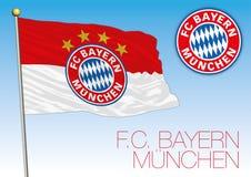 Bayern Monaco football club flag and crest, Germany 2018. Bayern Monaco flag and crest, European Championship 2018 finalist, editorial Stock Photo