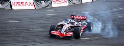 Bayern-Moskau-Stadt, die 2010, Jenson Button läuft Lizenzfreie Stockfotos