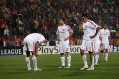 Bayern Munchen. In Bucharest 2008 playing against Steaua Bucharest royalty free stock photos