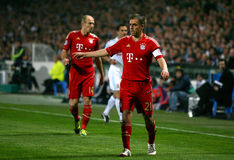 Bayern Munchen's Philipp Lahm and Arjen Robben Royalty Free Stock Images