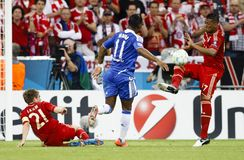 Bayern Munich vs. Chelsea FC UEFA CL Final. MUNICH, May 19 - Drogba of Chelsea (M) between Lahm (21) and Boateng (R) of Bayern during FC Bayern Munich vs Royalty Free Stock Photos