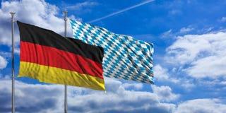 Bayern och Tysklandflaggor som vinkar på poler 1 bakgrund clouds den molniga skyen illustration 3d royaltyfri illustrationer
