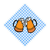Bayern pattern background. Traditional German Oktoberfest bier festival with two Beer cups. Vector lettering. Illustration Stock Images