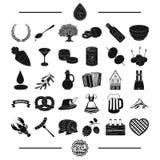 Bayern vilar, festen och annan rengöringsduksymbol i svart stil musik medborgare, beklär symboler i uppsättningsamling Arkivbilder