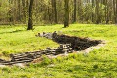 Bayernwald wooden trench of world war 1 belgium. Bayernwald wooden trench of world war 1 stock photos