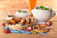 Bayersk kalvköttkorvfrukost Royaltyfria Bilder