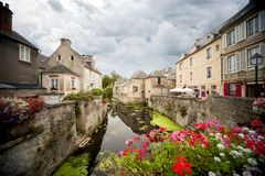 Bayeux, France - Scene of Bayeux with a waterway named the Aure. Bayeux. The city is also known for its famous Bayeux Tapestry, which can be visited in its Stock Photo