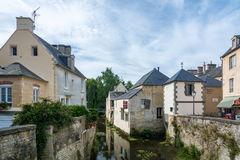 Bayeux in France. Bayeux, France - September 2, 2016: Scene of Bayeux with a waterway named the Aure Stock Photography