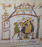 Bayeux tapestry. Detail of the Bayeux Tapestry depicting King Harold during the Norman invasion of England in the 11th Century Stock Images