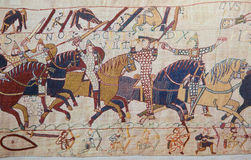 Bayeux tapestry. Detail of the Bayeux Tapestry depicting the Norman invasion of England in the 11th Century Stock Image