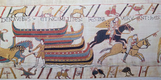 Bayeux tapestry. Detail of the Bayeux Tapestry depicting the Norman invasion of England in the 11th Century Royalty Free Stock Photography