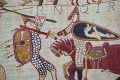 Bayeux tapestry. Detail of the Bayeux Tapestry depicting the Norman invasion of England in the 11th Century Royalty Free Stock Image