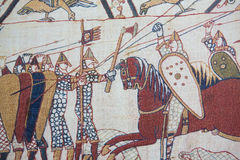 Bayeux tapestry. Detail of the Bayeux Tapestry depicting the Norman invasion of England in the 11th Century Royalty Free Stock Images