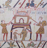 Bayeux tapestry. Detail of the Bayeux Tapestry depicting the Norman invasion of England in the 11th Century Royalty Free Stock Photo