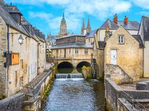 Scenic view in Bayeux, Normandy, France. Bayeux is a town on the Aure river in the Normandy region of northwestern France, 10 kilometers from the Channel coast Stock Photos