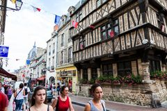 Bayeux town centre during the summer. This is the Bayeux town centre during the summer, unique architecture and history bring many tourists to the town. Bayeux Royalty Free Stock Photo