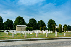 Bayeux War Cemetery. The Bayeux War Cemetery contains 4,144 Commonwealth burials of the Second World War, 338 of them unidentified. There are also over 500 war Royalty Free Stock Photo