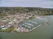 Bayfield Wisconsin and Lake Superior. Aerial View during Summer stock photos