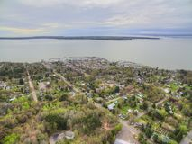 Bayfield Wisconsin and Lake Superior. Aerial View during Summer stock image