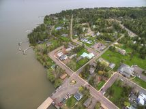 Bayfield Wisconsin and Lake Superior. Aerial View during Summer stock photography