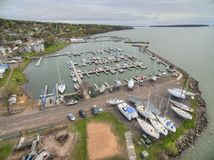 Bayfield Wisconsin and Lake Superior royalty free stock image