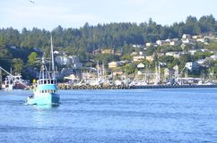 Bayfront of Newport, Oregon. Bayfront harbor with fishing boat in Newport, Oregon Stock Photos