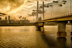 Nanchang Bayi Bridge. Bayi Bridge is the first cable stayed bridge in Jiangxi Province, and the longest cable stayed bridge in Nanchang City, Jiangxi province royalty free stock photos